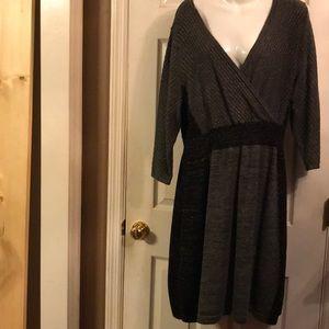 Grey and black sparkle V neck sweater dress